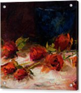 Blue Vase And Red Roses Acrylic Print