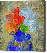 Blue Vase, Red Flowers Acrylic Print
