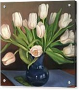 Blue Vase, White Tulips Acrylic Print