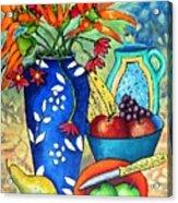 Blue Vase With Orange Flowers Acrylic Print