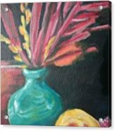 Blue Vase With Red  Acrylic Print