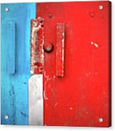 Blue Wall Red Door Acrylic Print