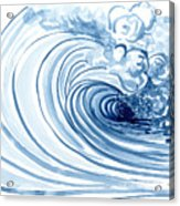Blue Wave Modern Loose Curling Wave Acrylic Print