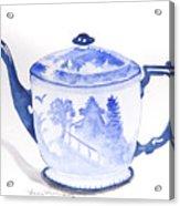 Blue Willow Teapot Acrylic Print