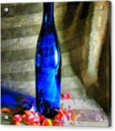 Blue Wine Bottle Acrylic Print