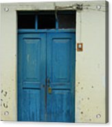 Blue Wood Door In A Building Acrylic Print