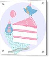 Bluebirds Love Birthday Cake Acrylic Print