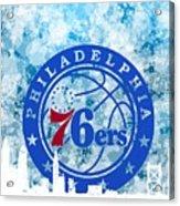 bluish backgroud for Philadelphia basket Acrylic Print