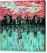 Blushing Metropolis Acrylic Print