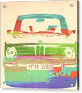 Bmw 2002 Front Watercolor 3 Acrylic Print by Naxart Studio