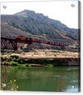 Bnsf Train Along The Wind River Acrylic Print