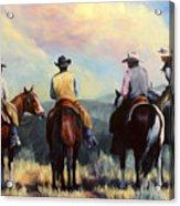 Board Meeting  Cowboy Painting Acrylic Print