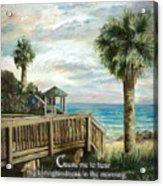 Boardwalk With Lifeguard Psalm 143 Acrylic Print