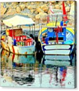Happy And Colorful Boats In Their Own Company  Acrylic Print by Hilde Widerberg