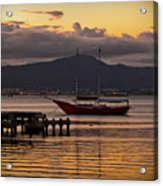 Boat And The Sunset Acrylic Print