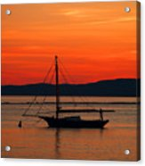 Boat At Champlain Sun-set Acrylic Print