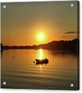 Boat At Sunset Glow Acrylic Print