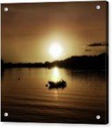 Boat At Sunset Glow - Sepia  Acrylic Print