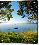 Boat Framed By Trees And Foliage Acrylic Print