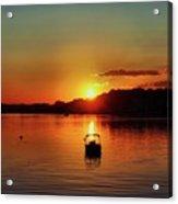 Boat In Sunset Glow Acrylic Print
