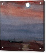 Boat In The Moon Acrylic Print