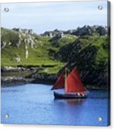 Boat In The Sea, Galway Hooker, County Acrylic Print