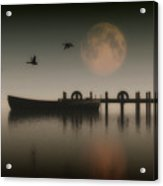 Boat On A Lake With Geese Flying Over Acrylic Print