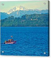 Boat On Llanquihue Lake From Puerto Varas-chile Acrylic Print