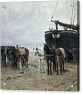 Boat On The Beach At Scheveningen Acrylic Print by Anton Mauve