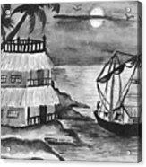 Boat Sailing In Moon Light Acrylic Print