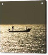 Boat Silhouette In Sunrise At Marina Beach, Chennai Acrylic Print