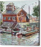 Boat Station On Krestovsky Island In St.-petersburg Acrylic Print