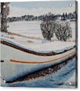 Boat Under Snow Acrylic Print