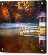 Boathouse In Autumn Oil Painting Acrylic Print