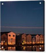 Boathouse Reflections With Moonset Acrylic Print