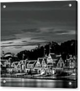 Boathouse Row Philadelphia Pa Night Black And White Acrylic Print