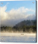 Boating At Trillium Lake One Foggy Morning Acrylic Print