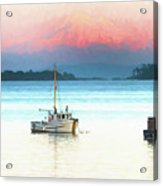 Boats Anchored With Mount Baker, Washington In Background Acrylic Print