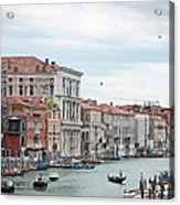 Boats And Gondolas In Grand Canal Acrylic Print
