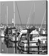 Boats And Reflections B-w Acrylic Print