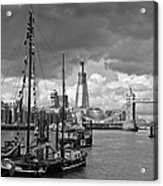 Boats And Shard And Tower Bridge Bw Acrylic Print