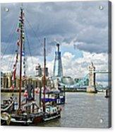 Boats And Shard And Tower Bridge Acrylic Print