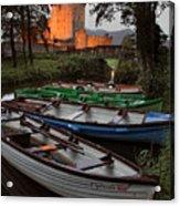 Boats At Ross Castle Killarney Ireland Acrylic Print