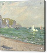 Boats Below The Cliffs At Pourville Acrylic Print by Claude Monet