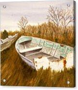 Boats By Causeway Acrylic Print