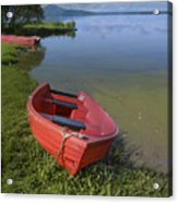 Boats By The Lake Iceland  Acrylic Print