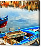 Boats In Autumn Acrylic Print