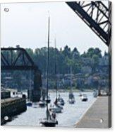 Boats In Ballard Locks Acrylic Print