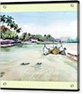 Boats In Beach Acrylic Print