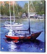 boats in Brisbane river Acrylic Print